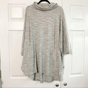 LOFT Outlet Gray Space Dye Cowl Neck Tunic Size XL